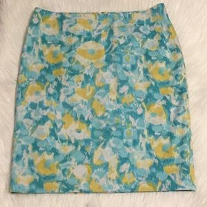 Talbots Blue/Yellow Pencil Skirt
